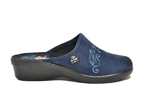 FLY FLOT Art L7861 Ciabatta pantofola invernale donna da casa in tessuto  nel colore blu. Fodera in tessuto. soletto in tessuto. Suola in gomma con  zeppa di ... a9580de4548