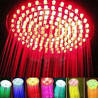 ELENKER 7 colors 8  Rainfall Round Bathroom Shower Head RGB LED Flash Light