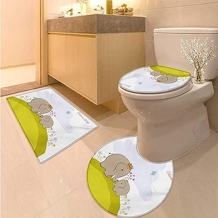 Amazon.com: Anhuthree Nursery Bath mat Set with Toilet Cover Baby ...