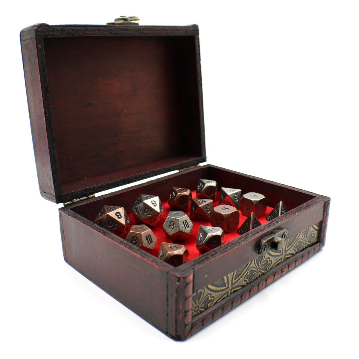 Twin Role Playing Metal Dice Sets with Storage Chest for Tabletop Games
