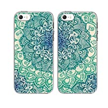 iPhone5/5S/SE Couple Case-TTOTT 2x Cases New Fashion Floral Green Mandala Art Design Soft Slim TPU Anti-Scratch Bumper Best Friend Gift Couple Matching Cover Cases for iPhone5/5S/SE 4inch