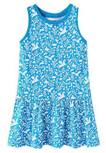 Fiream Girls Summer Casual Dresses Cotton Short Sleeves Flower Dresses(JP021,4T)]()