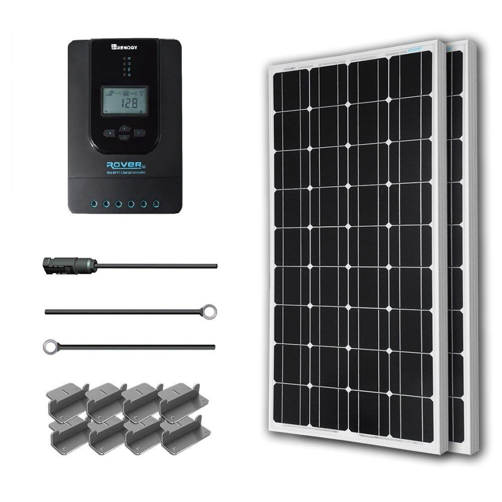 Renogy 200 Watt 12 Volt Monocrystalline Solar Starter Kit w/ 40A Rover MPPT Charge Controller + MC4 Connectors +Tray Cable+ Mounting Z Brackets for RV, Boat by Renogy (Image #1)