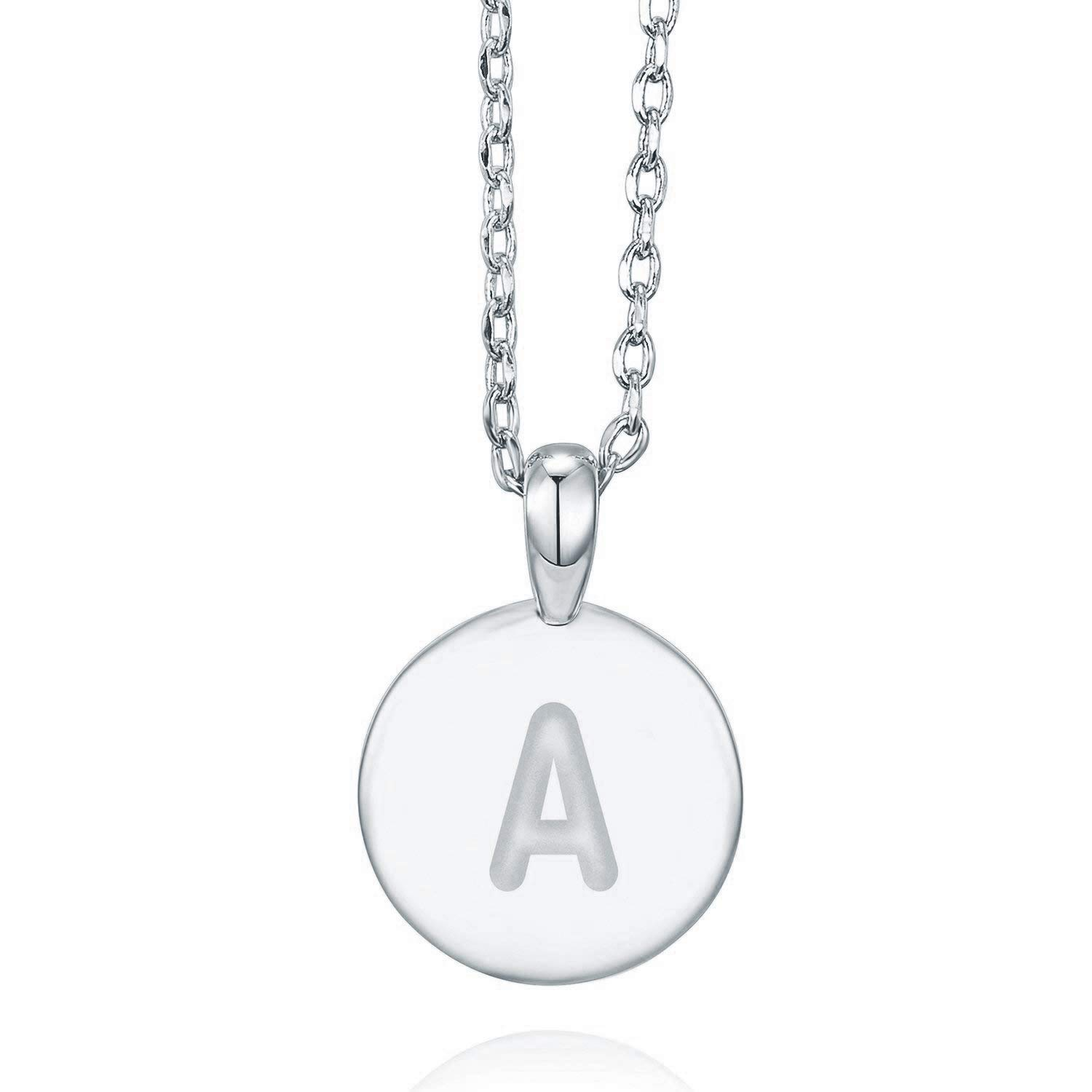 aa51c7631ee PAVOI 14K White Gold Plated Letter Necklace for Women | Gold Initial  Necklace for Girls