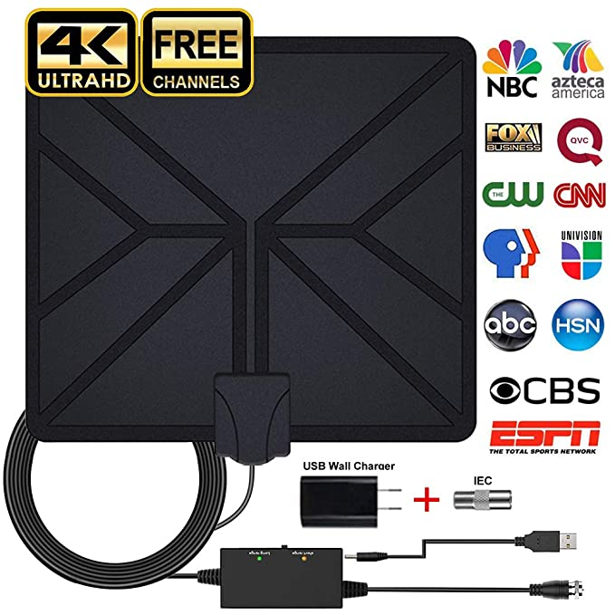 ... Antenna 70-100 Miles Long Range Support 4K 1080P Freeview Channels with Amplifier Signal Booster, Power Adapter and 16.4FT Longer Coax Cable: Home Audio ...