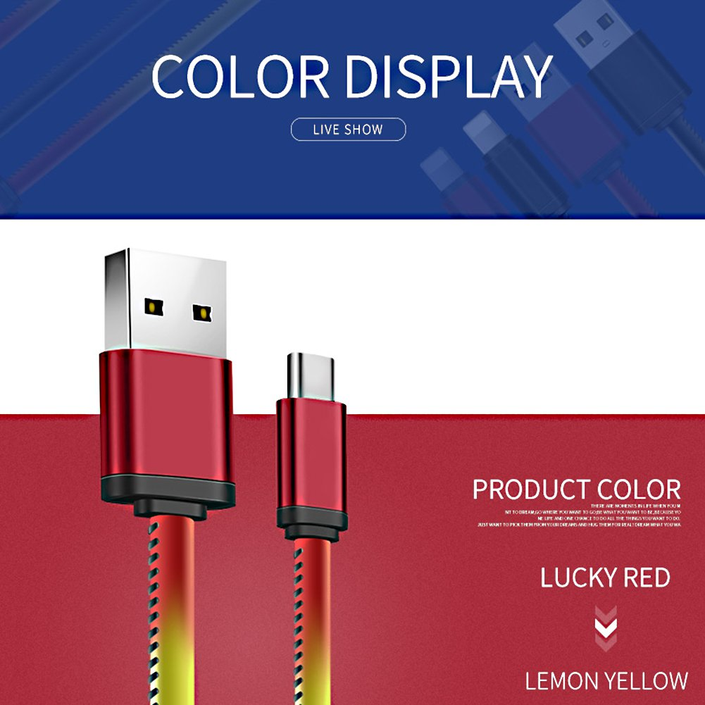 UUYUM Thermal Sensor Type C to USB 2.0 Cable, Heat Induction Color Changing Holster, Super Durable Charge for LG G5/V20, Nexus 5X/6P, Samsung Galaxy S8, Nintendo Switch and other Devices (Red) by UUYUM (Image #4)