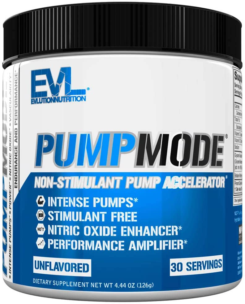 Evlution Nutrition Pump Mode Nitric Oxide Booster to Support Intense Pumps, Performance and Vascularity, 30 Servings (Unflavored)