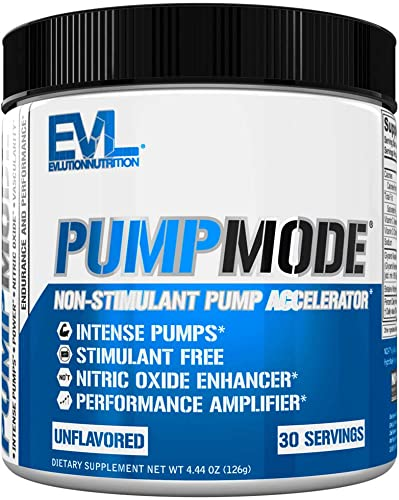 Evlution Nutrition Pump Mode Nitric Oxide Booster to Support Intense Pumps, Performance and Vascularity, 30 Servings Unflavored