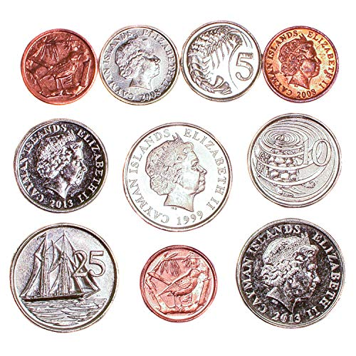 10 Cayman Islands Coins 1-25 Cents. Old Coins Collection from Caribbean SEA, Since 1972. Perfect Choice for Your Coin Bank, Coin Holders and Coin Album