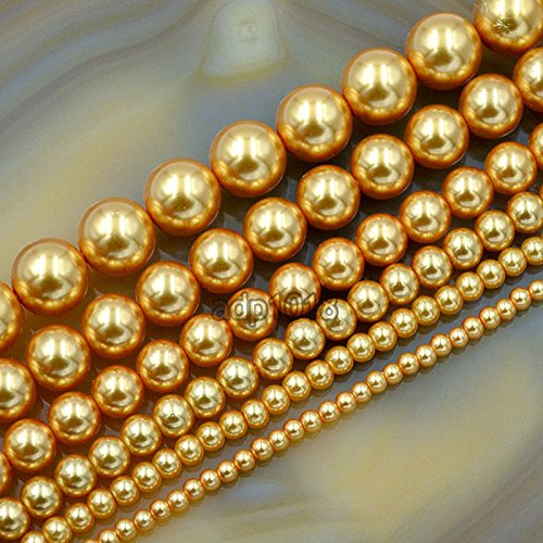 4mm Round Czech Glass Pearl - AD Beads Top Quality Czech Glass Pearl Round Beads 16'' 3mm 4mm 6mm 8mm 10mm 12mm (4mm, Gold)