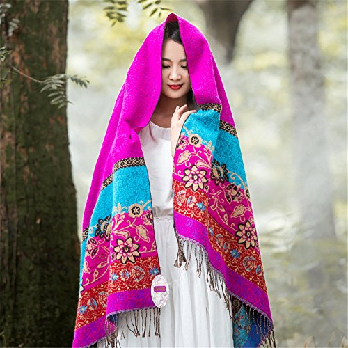 (ZHANGYONG The Spring and Summer All-Match Cotton Scarf Female Long Sided Ethnic Tourism Sunscreen Dual-Purpose 200cm70cm Scarf Shawl,Picking Rose)