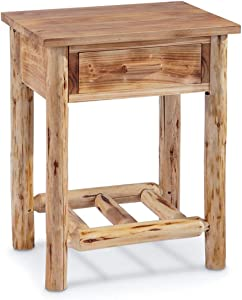 CASTLECREEK Pine Log End Table Nightstand, Rustic Natural Weathered Look Wooden Side Tables with Storage Drawer for Living Room Couch, Bedroom