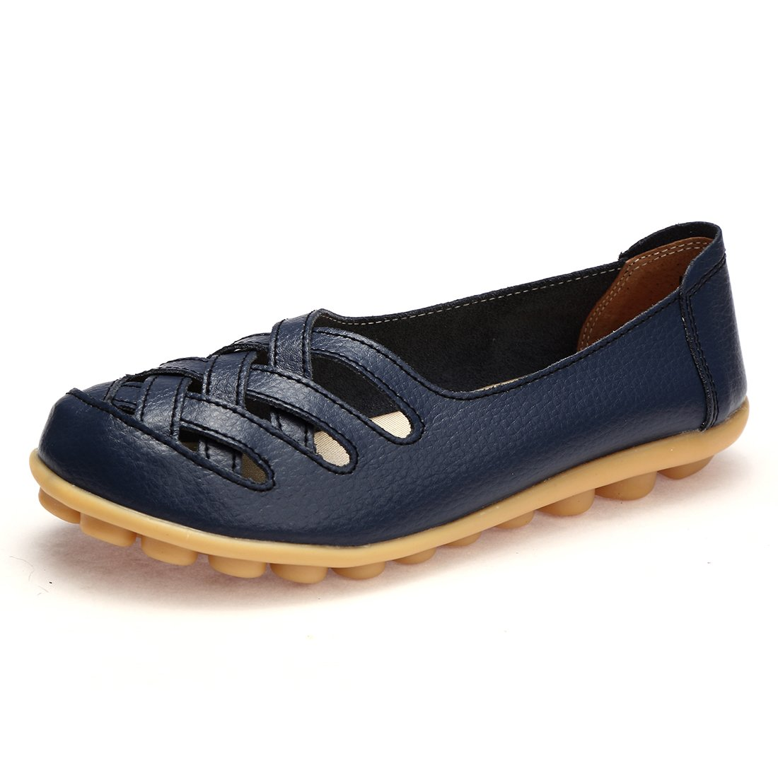 BTDREAM Women's Leather Slip-on Loafers Moccasins Casual Flat Driving Boat Shoes with Memory Foam Insole Navy Size 38