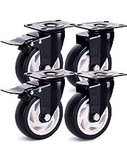 H&S® 4 Heavy Duty 100mm PU Rubber Swivel Castor Wheels Trolley Furniture Caster with Brakes - 600KG
