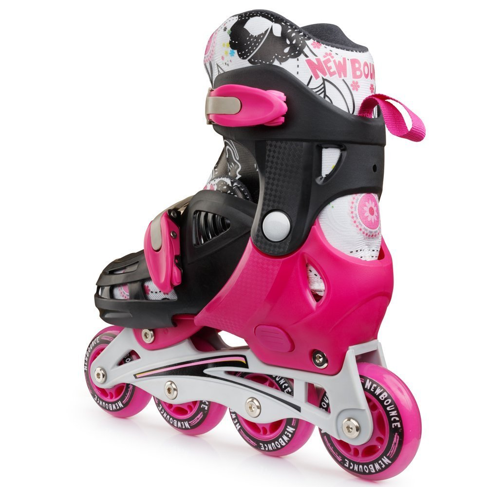 New Bounce Premium Roller Skate by, 4 Wheel Inline Rollerblades for Kids Outdoor Skating for Beginners Advanced Pink Or Blue