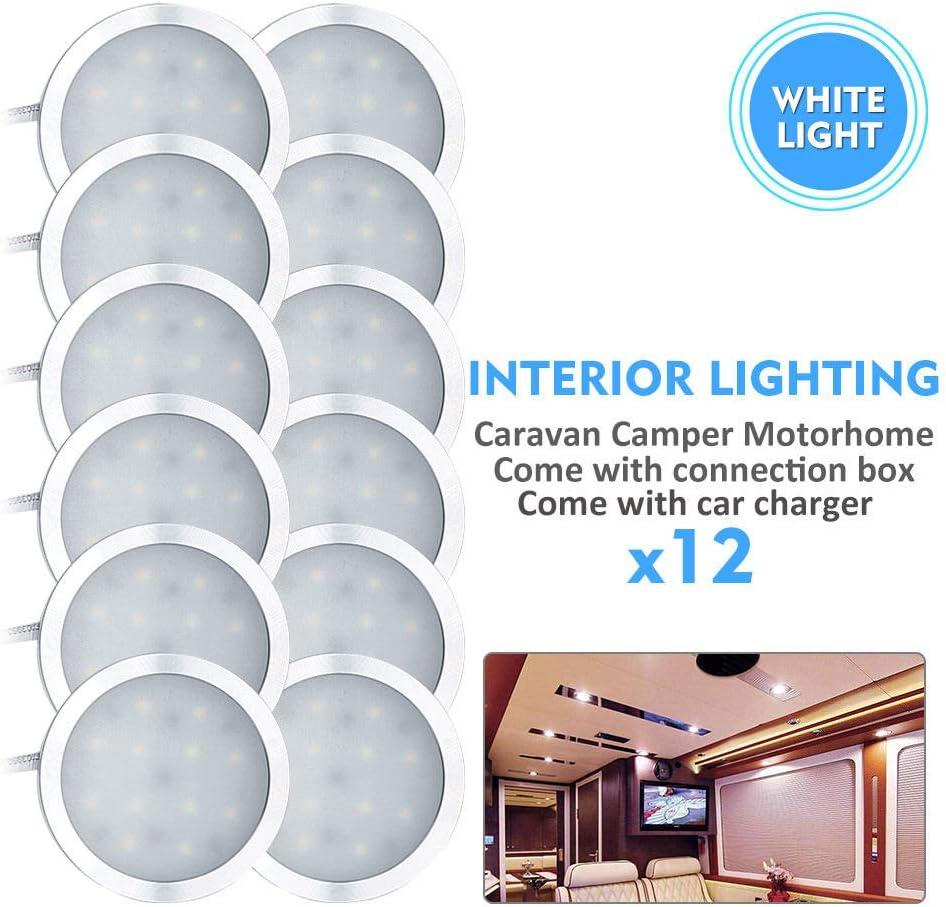 HugeAuto 4x12V Interior LED Spot Light Charger For Camper Van Motorhome natural white Caravan Lighting