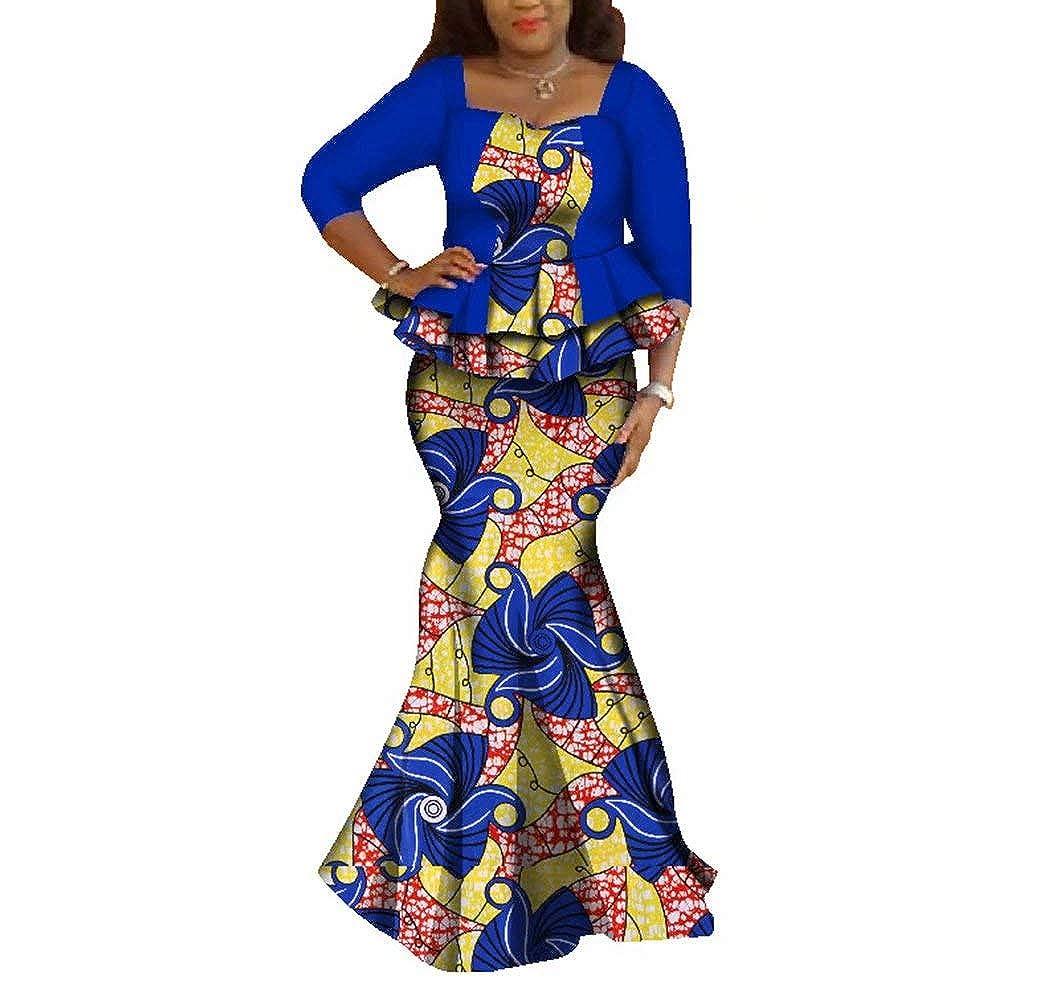 24fs1205 BintaRealWax Womens Elegant African Skirts Set 2 Piece Ankara Peplum Tops & Mermaid Skirt