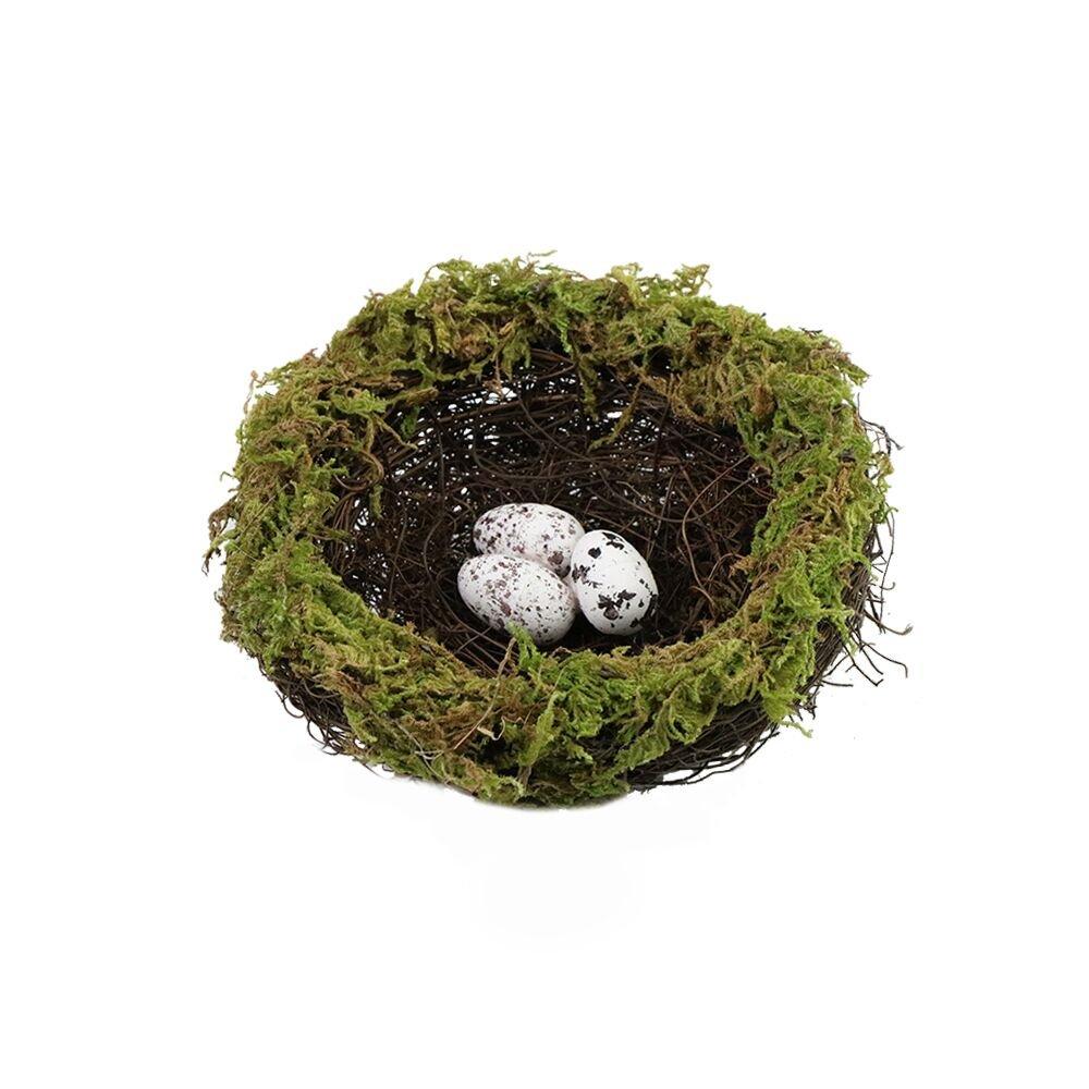 SogYupk Artificial natural spot bird egg green moss natural rattan nest crafts