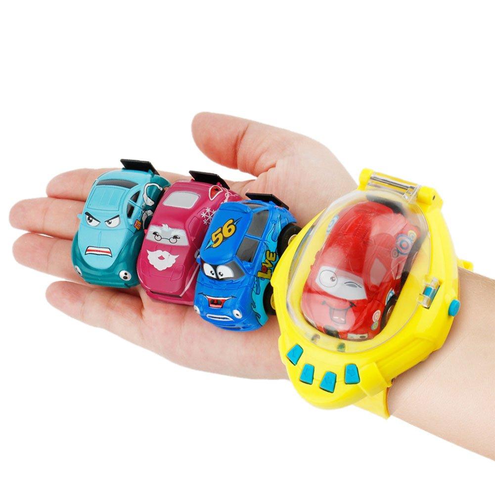 Mini Remote Control Car Watches Wireless Remote Control Car New Cartoon Cute Expression USB Charging Gravity Sensing Children's Birthday Gift Portable Remote Control Toy Car Mydears (DARK GREEN) by Mydears