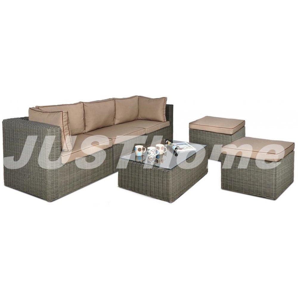 JUSThome Loungemöbel Gartenmöbel Gartengarnitur Rodos IIIP 2x Sitzhocker + 1x Sofa + 1x Tisch Grau