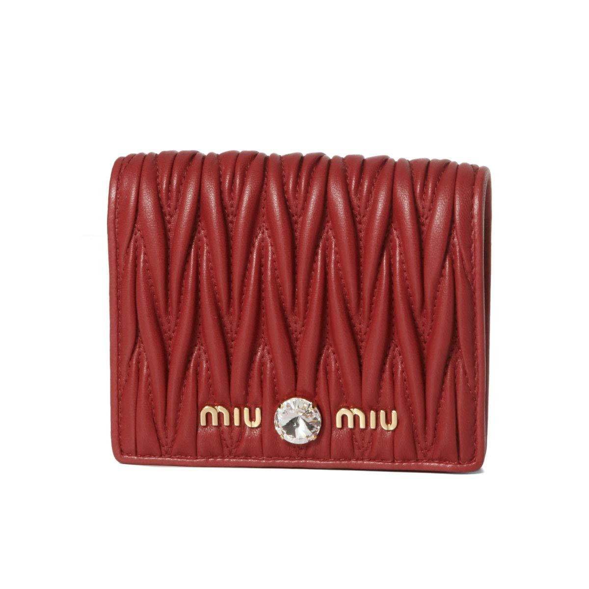 (ミュウ ミュウ) MIU MIU 二つ折り財布 MATELASSE CRYST レッド 5MV204 2B9G F068Z [並行輸入品] B07RRZVXP4