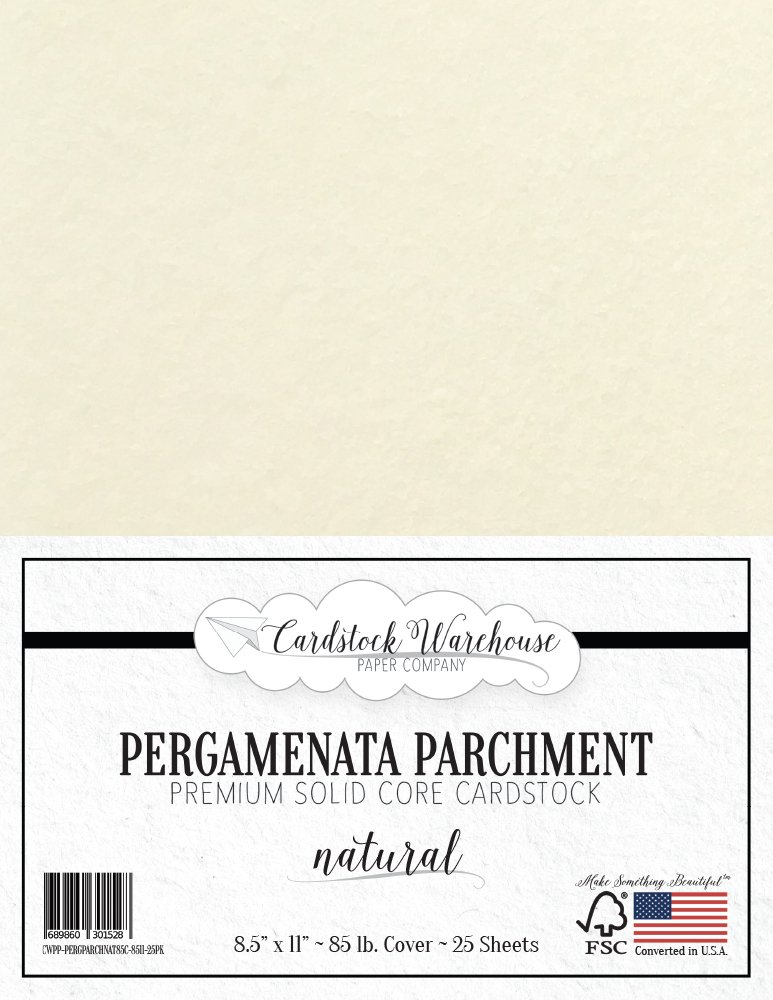 PARCHMENT PAPER - PERGAMENATA NATURAL Cardstock 8.5' x 11' 230 GSM/85 LB. COVER - 25 Sheets from Cardstock Warehouse Fedrigoni 4336868645