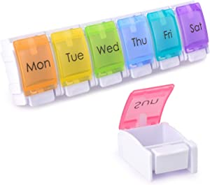 LEMBOL Detachable Pill Organizer,Weekly Pill Box 1 Time a Day,Large Daily Pill Case for Pills/Vitamin/Fish Oil/Supplements(Rainbow)