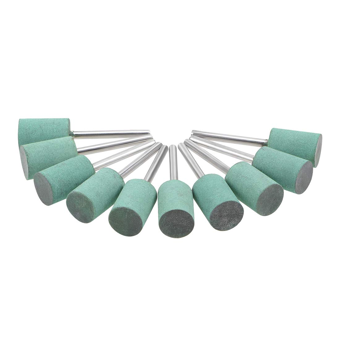 uxcell 10mm Rubber Polishing Burrs Bits Cylinder with 1//8-inch Shank Buffing Wheels for Rotary Tools Green 10 Pcs