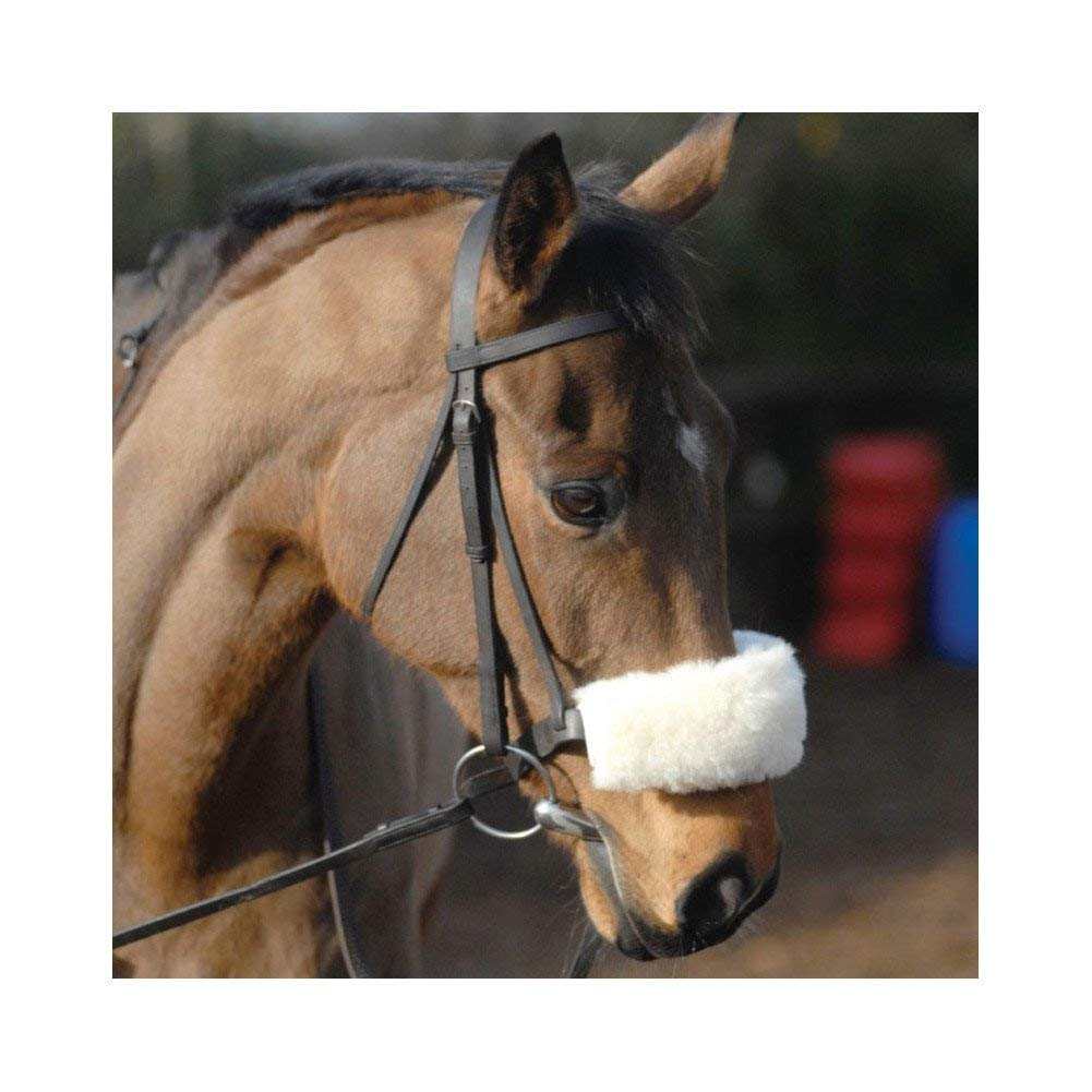 Griffin NuuMed Luxury Wool Noseband Cover Bridle Pad One Size White