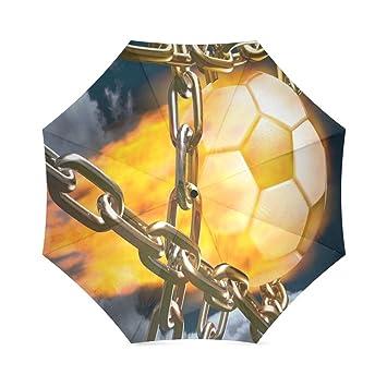 Las madres/padres/Hermanos Regalos elegante paraguas de viaje plegable de fútbol de balón