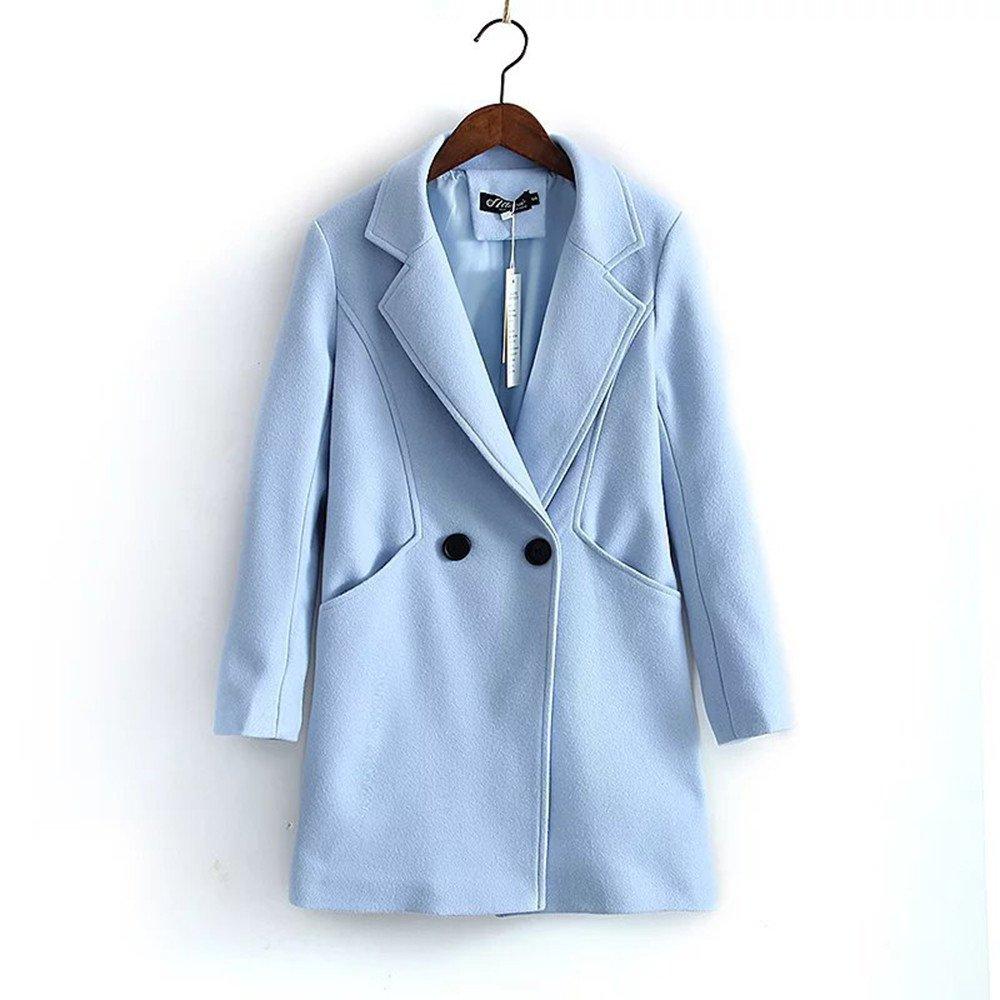 Pugaomsiw einfache Mantel Frauen einzelne Feste Studenten langärmelige Wolle Mantel Mantel am Revers,L,Auf jeden Fall, das
