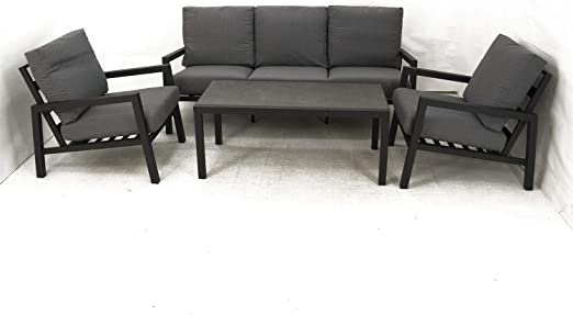Conjunto sofás jardín, Aluminio Reforzado Color Antracita, Sofá 3 plazas + 2 sillones + Mesita café, 5 plazas, Cojines Color Gris: Amazon.es: Jardín