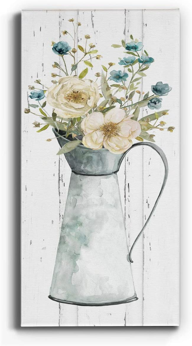Neutral Color Wall Art, Wall Décor Canvas, Beaches, Floral, Animals, Southwestern, & Vintage Styles, Ready to Hang -Farmhouse Flower Bouquet II 12X24