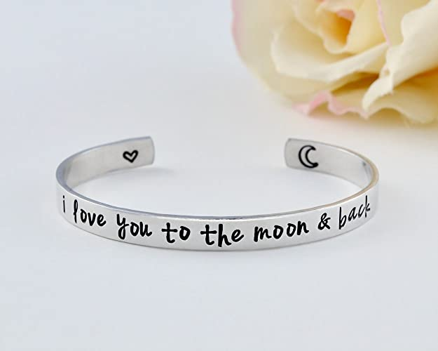 48753d0c2b i love you to the moon and back - Hand Stamped Aluminum Cuff Bracelet, Mom  Daughter Sisters Best Friends BFF Mother's Day Grandma Wife Girlfriend  Forever ...
