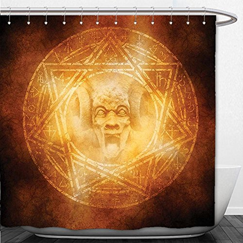 Beshowere Shower Curtain Horror House Decor Demon Trap Symbol Logo Ceremony Creepy Ritual Fantasy Paranormal Design Orange by Beshowere