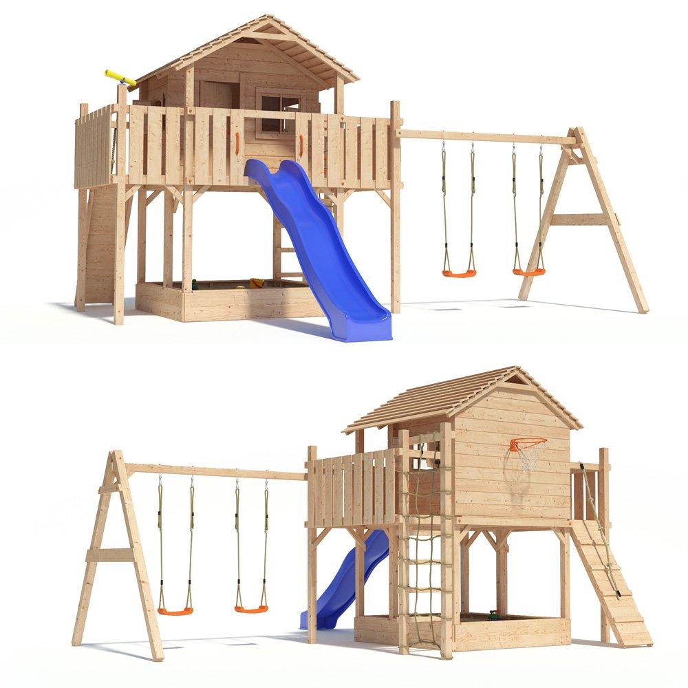 FANTASIO Baumhaus Stelzenhaus SpielhausSchaukel Kletterturm Rutsche Holz (einfacher Schaukelanbau) (blau)