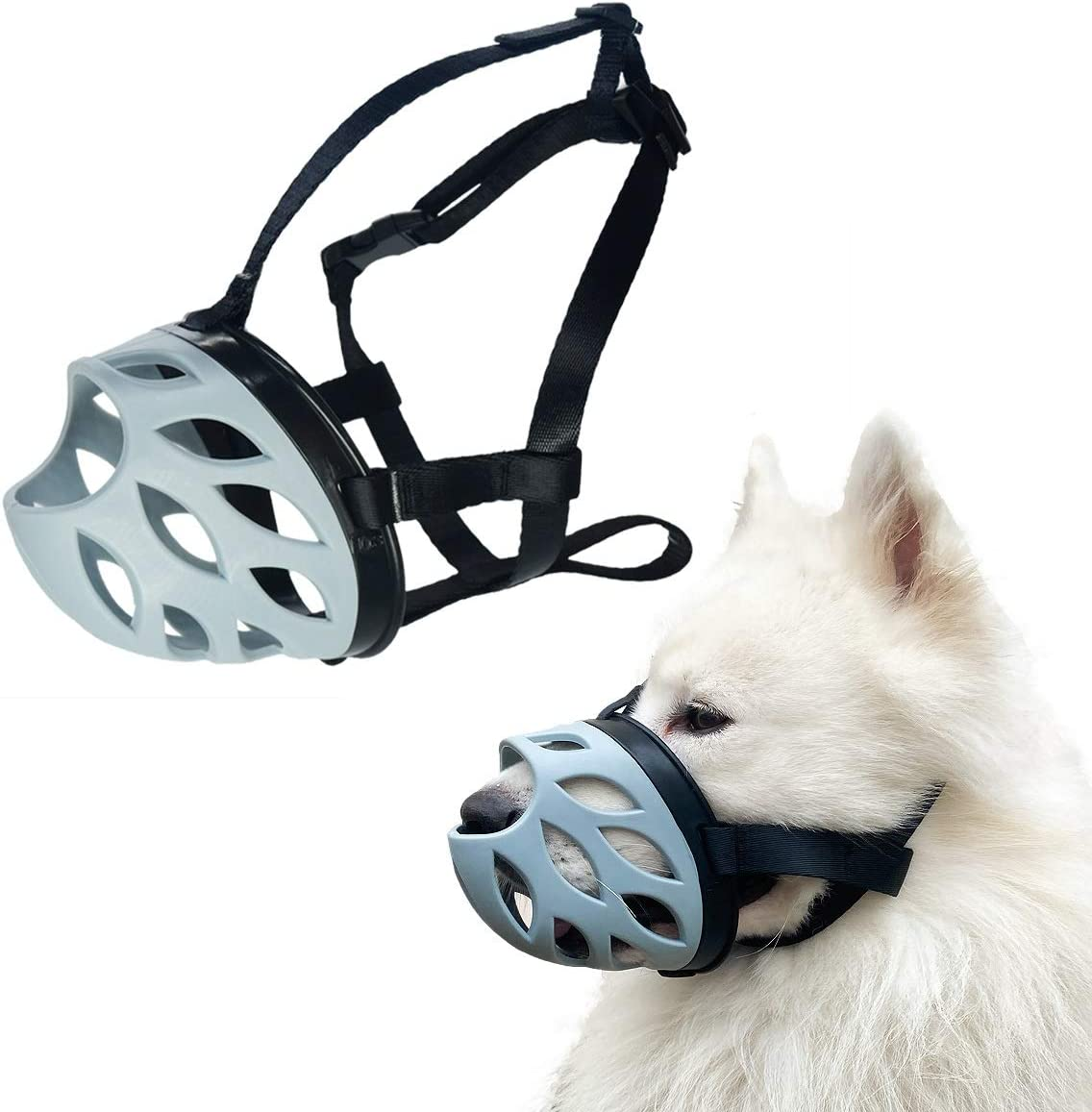 Dog Muzzle to Prevent Barking, Biting and Chewing, Soft Rubber Basket Muzzle for Small, Medium and Large Dogs