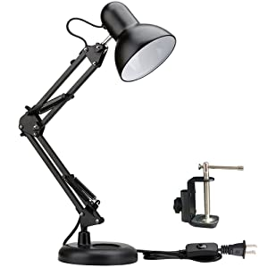 Shellkingdom Architect Task Lamp,Adjustable Swing Arm Desk Lamp with Clamp,Classic Desk Lamp for Home Office Reading(Black)