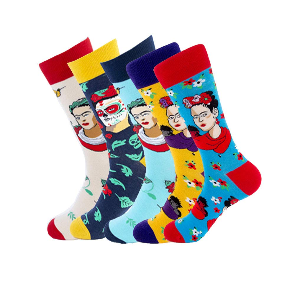 Mens Novelty Dress Socks Soft Funny Casual Knit Cotton Patterned Printed Crew Athletic Socks Colorful Funky Socks for Man