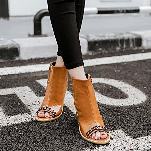 poissons de bouche Talons Cool hauts Carrière BROWN amp; chaussures sandales Casual mode mxx printemps Bureau LvYuan Robe chaîne 36 été Femmes bottes Confort p8xHqz