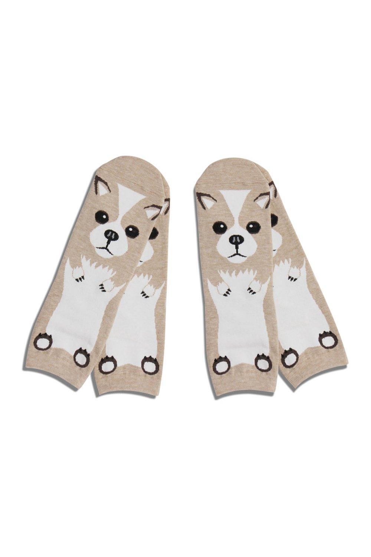 Womens Animal Dog Print Corgi & Pug Ankle Socks JE (One Size, Both Pairs Corgi)