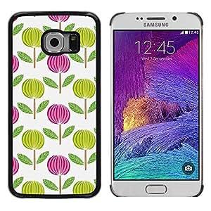 Be Good Phone Accessory // Dura Cáscara cubierta Protectora Caso Carcasa Funda de Protección para Samsung Galaxy S6 EDGE SM-G925 // Pink White Green Wallpaper