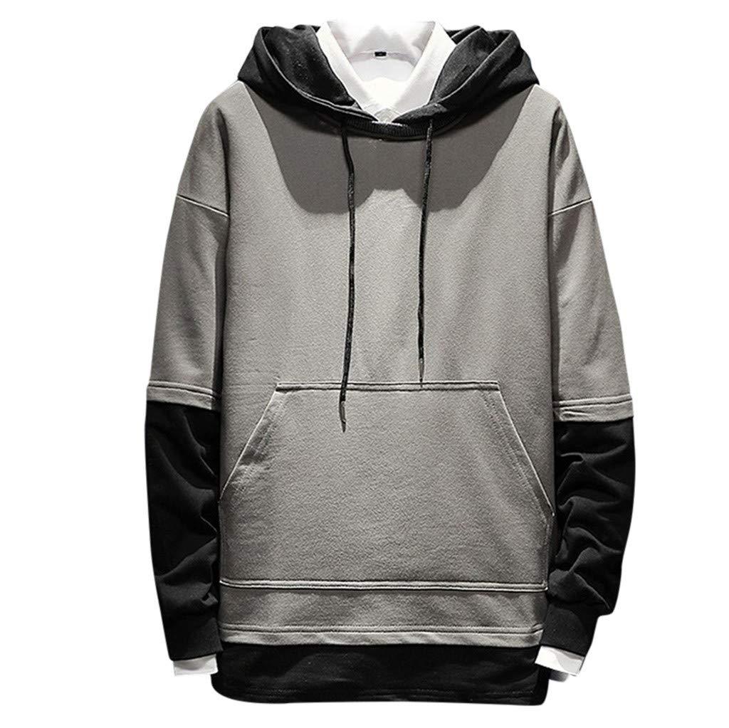 IEasⓄn Men Sweatshirt Casual Fashion Patchwork Hoodie Long Sleeves Tops Blouse Gray