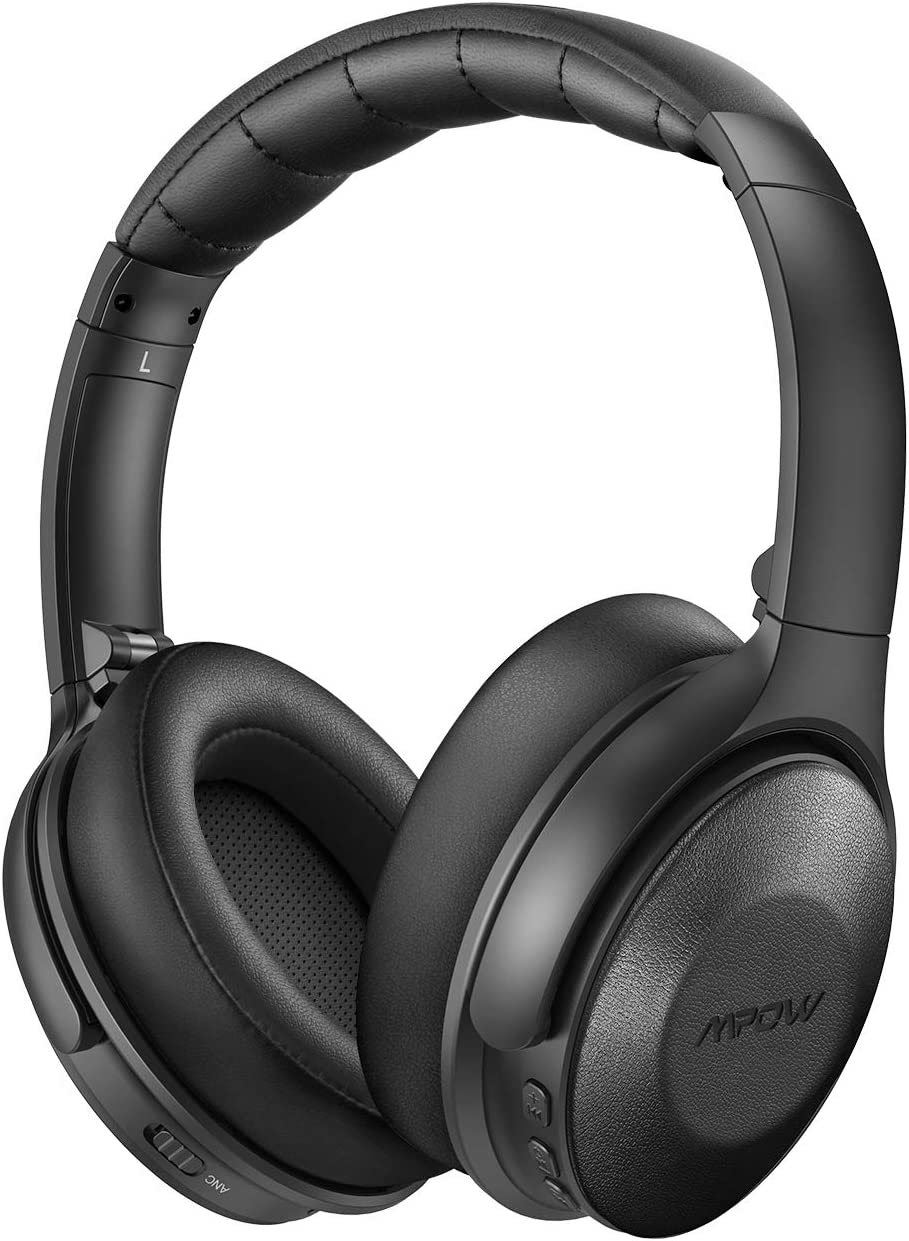 Mpow H17 Active Noise Cancelling Headphones, Bluetooth Headphones Over Ear with Quick Charge, Soft Genuine Protein Earpads, Hi-Fi Deep Bass, CVC 6.0 Mic, 30H Playtime for TV Travel Cellphone