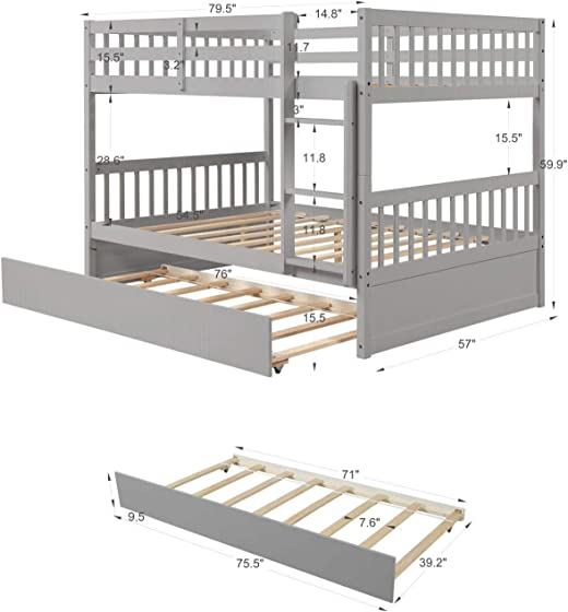 Awlstar Full Over Full Wood Bunk Bed