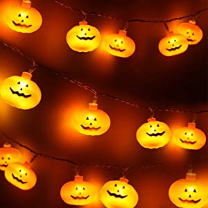 Halloween String Lights, LED Pumpkin Lights - 3D Halloween Decoration Lights, Battert Operated String Lights for Indoor Outdoor Party Bedroom Home Festival Holiday Christmas Decor