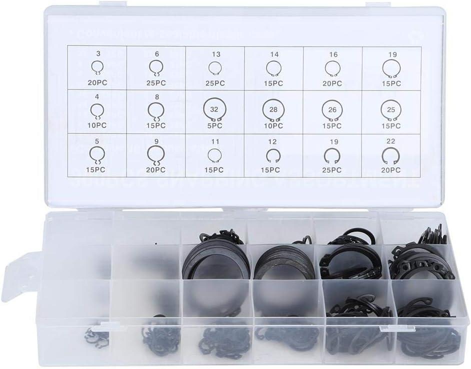 Qioni External Retaining Ring Kit E-Clip Snap Circlip Kit External Retaining Ring Assortment Set Retaining Ring Kit Circlip Kit for Retention of Bearings