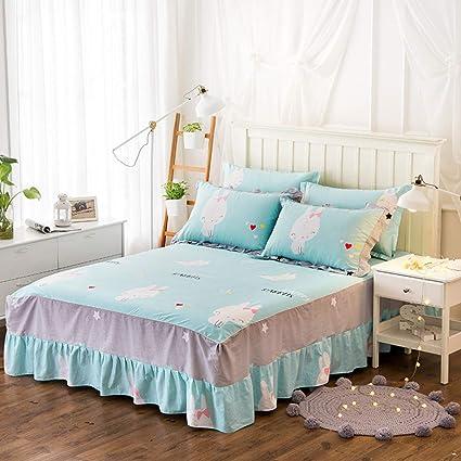 Bettrock Tagesdecke R/üschen Bett Rock Bett Volant Tagesdecke Mit R/üschen Faltenresistent Und Ausbleichen Best/ändig,A-120X200CM
