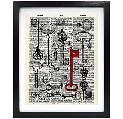 8X10 Unframed Old Key Collection Upcycled Vintage Dictionary Art Print Eco Friendly Book Art Print Home Decor Wall Art V027