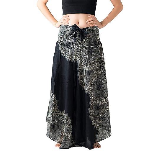 7a5a16e41f9d0 Womens 2 in 1 Bohemian Maxi Skirt Dress,Casual Loose Hippie Gypsy Elastic  Waist Floral Halter Travel Beach Long Skirt